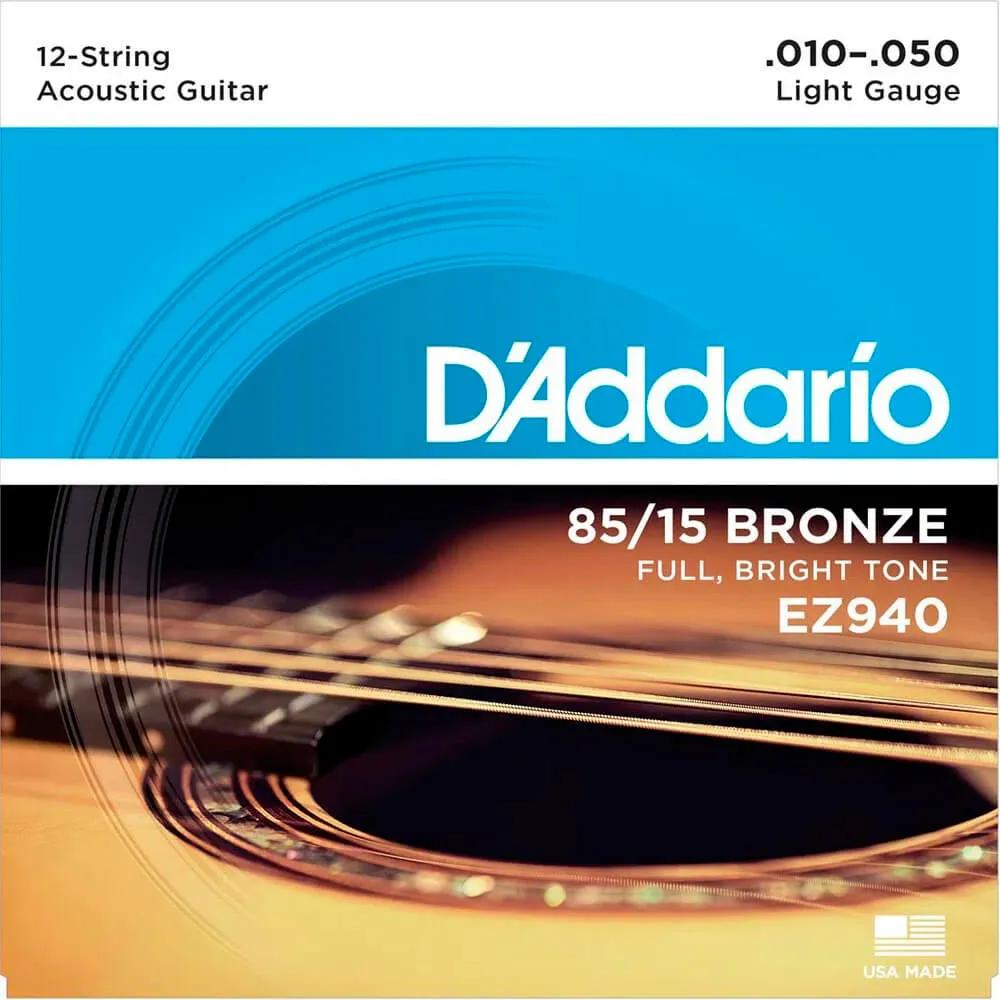 Encordoamento D'addario EZ940 010/050 para Violão 12 Cordas