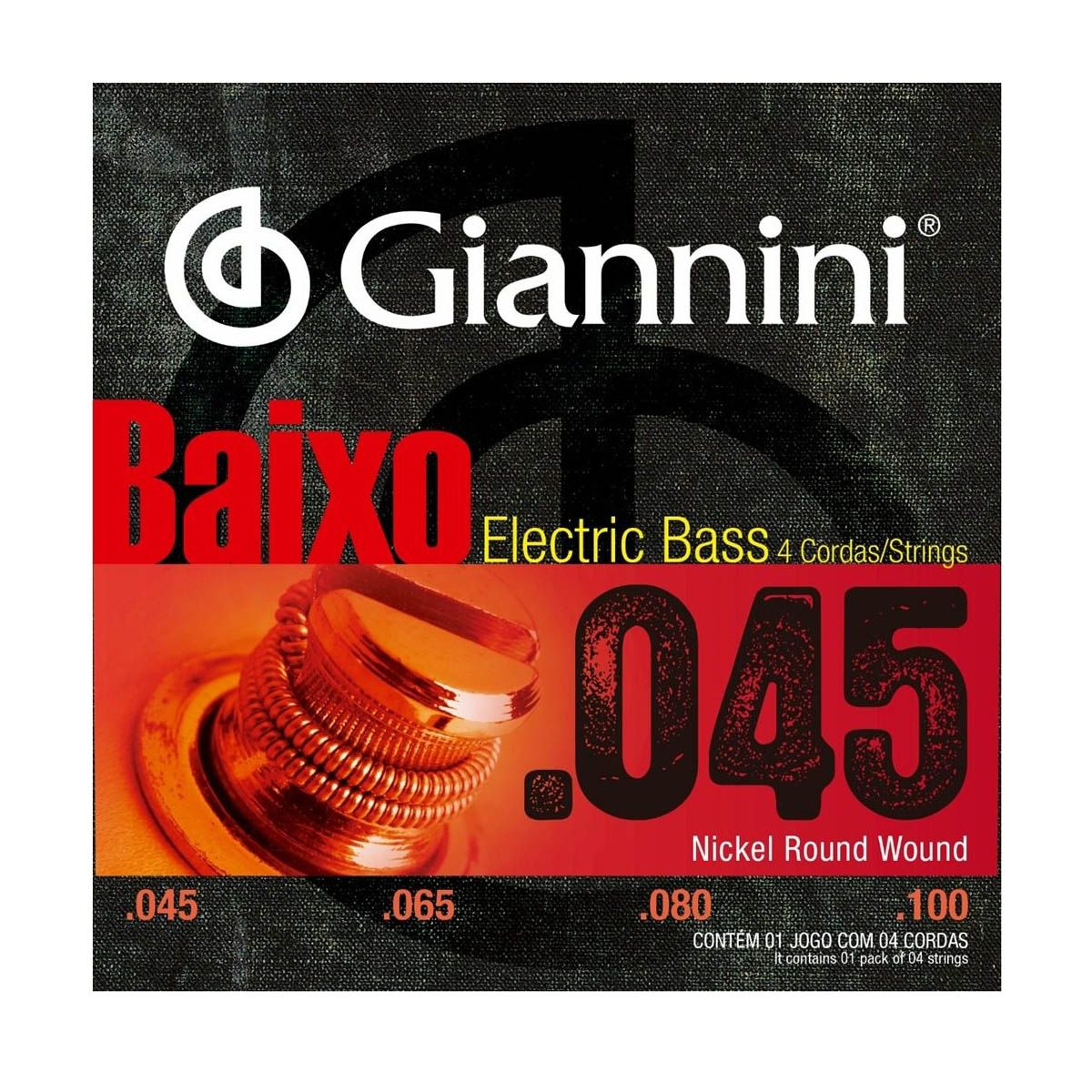 Encordoamento Giannini GEEBRS-4 .045/.100 para Contrabaixo
