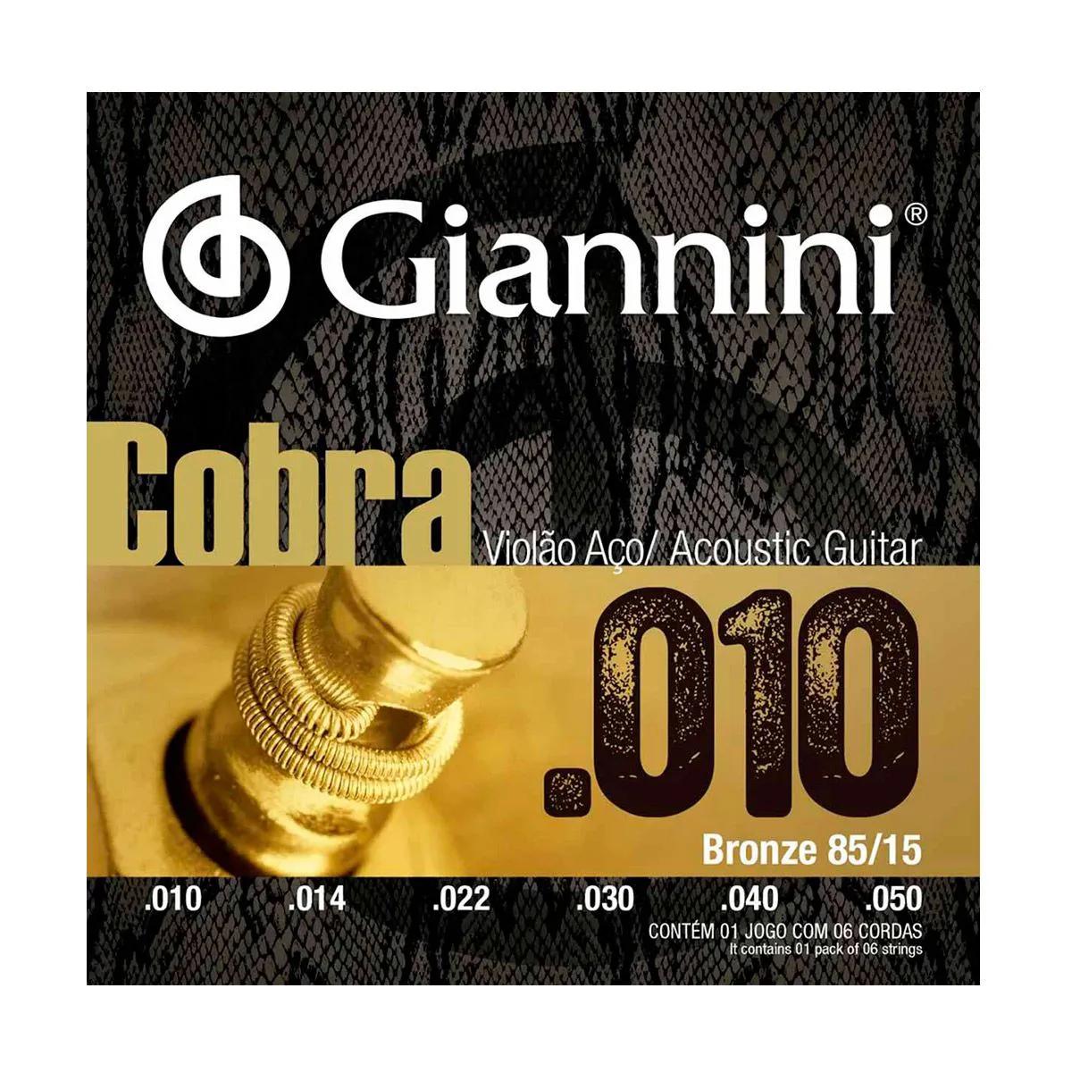 Encordoamento Giannini GEEFLE .010/.050 para Violão Aço