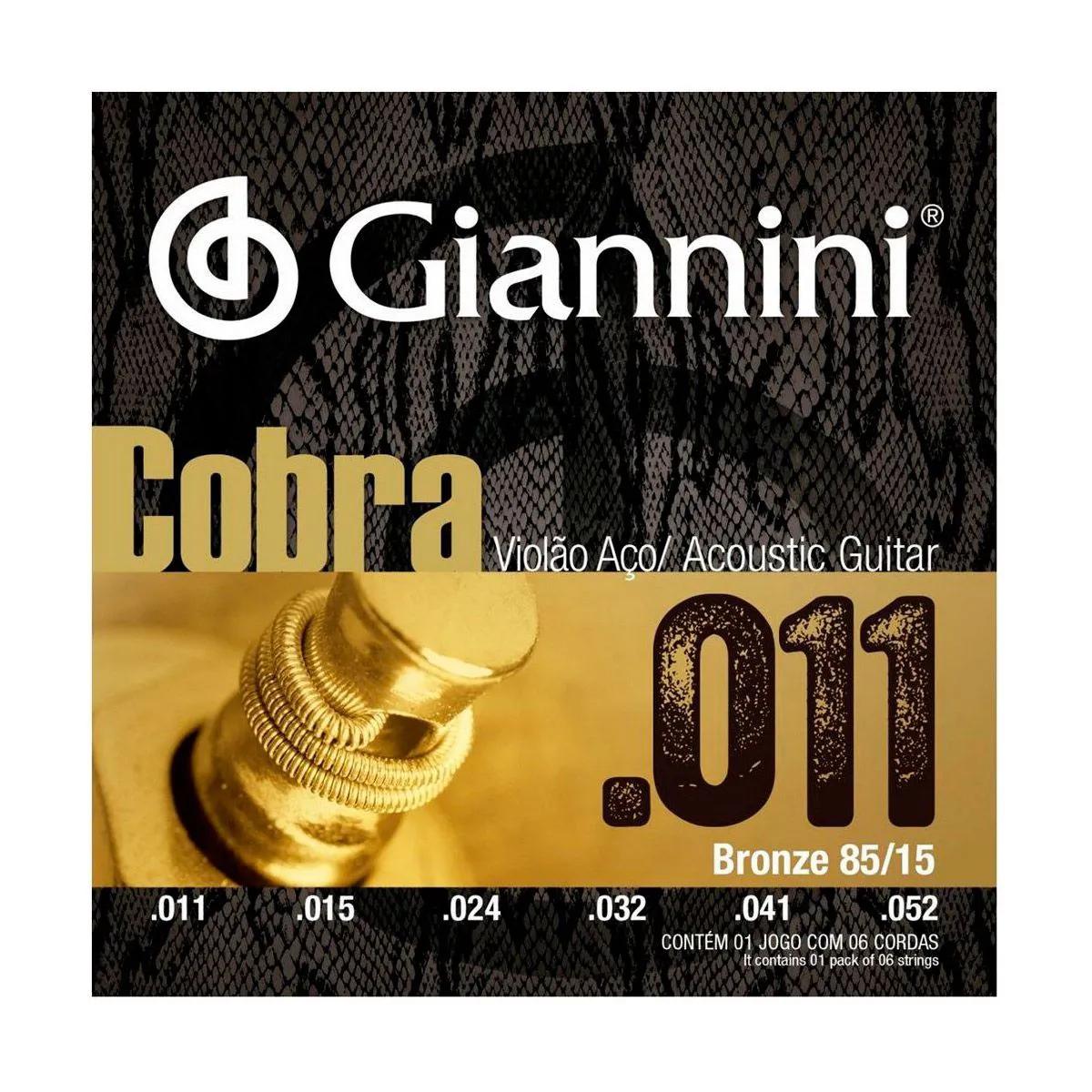 Encordoamento Giannini GEEFLK .011/.052 para Violão Aço