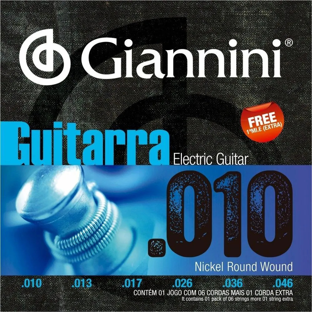 Encordoamento Giannini GEEGST10 .010/.046 para Guitarra