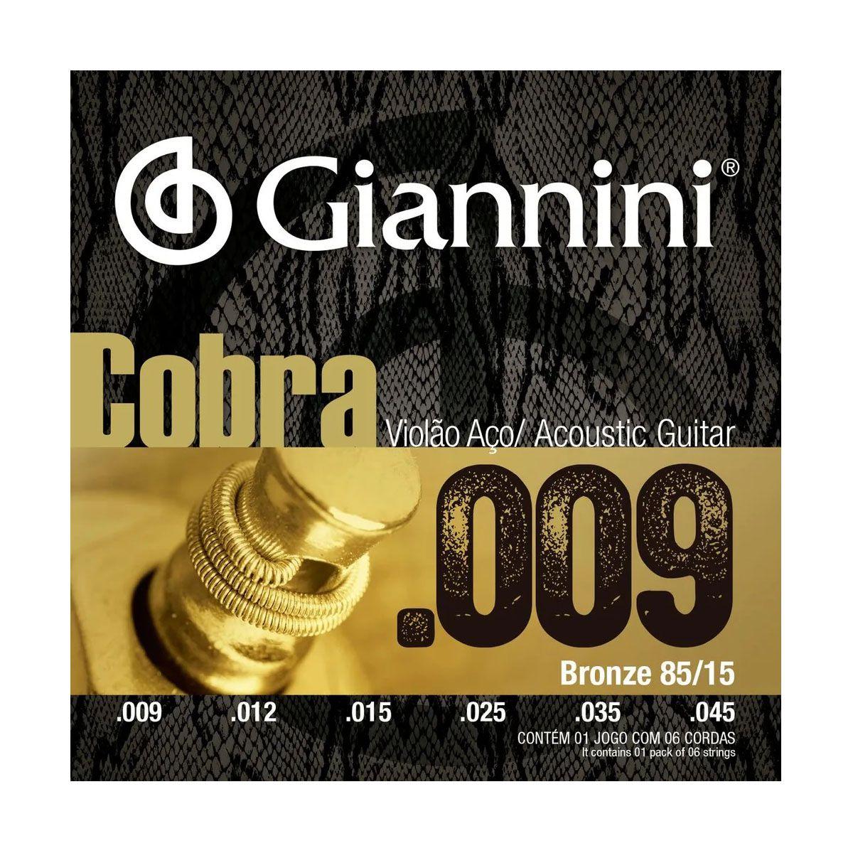 Encordoamento Giannini GEEWAK .009/.045 para Violão Aço