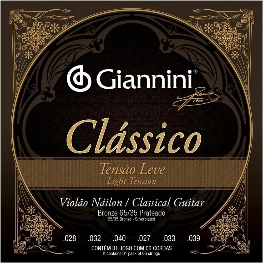 Encordoamento Giannini GENWPL Tensão Leve para Violão Nylon