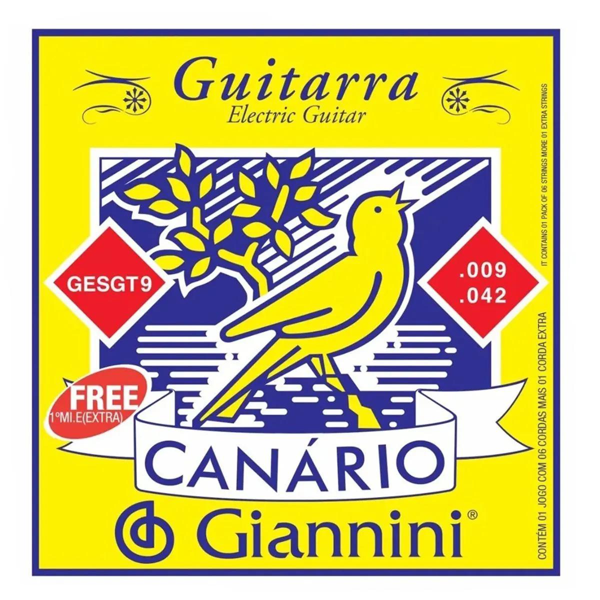 Encordoamento Giannini GESGT .009/.042 Canário Para Guitarra