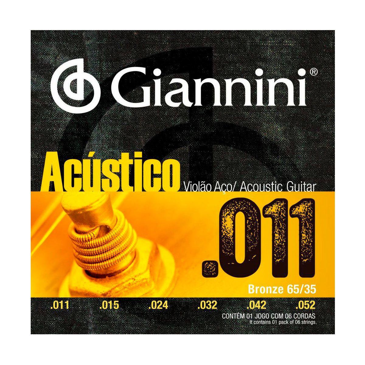 Encordoamento Giannini GESPW .011/.052 para Violão Aço