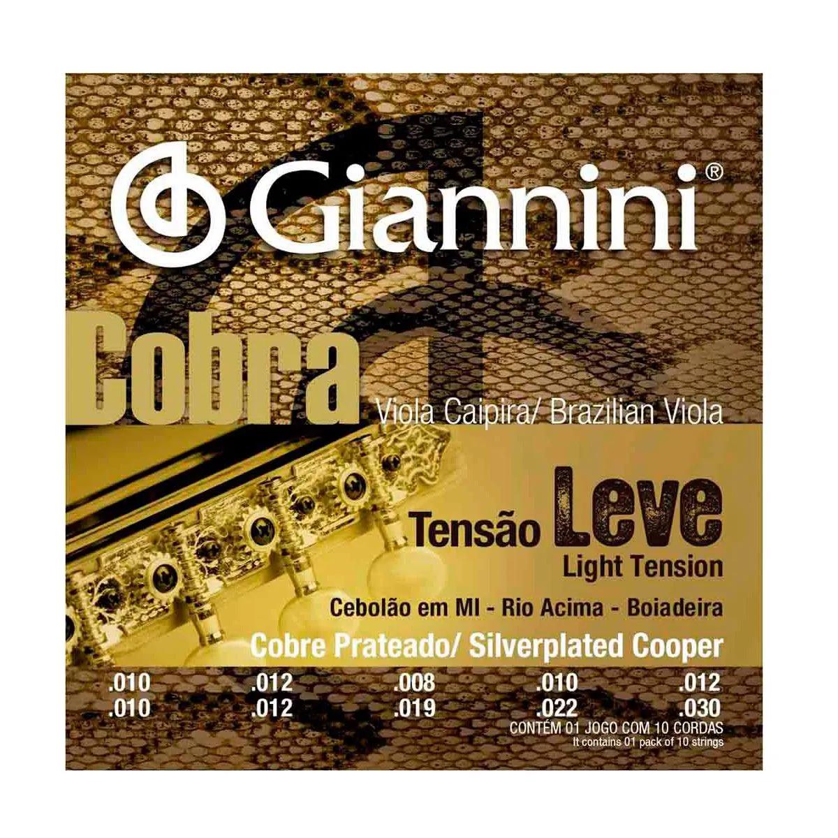 Encordoamento Giannini GESVL .010/.030 Mi para Viola Caipira