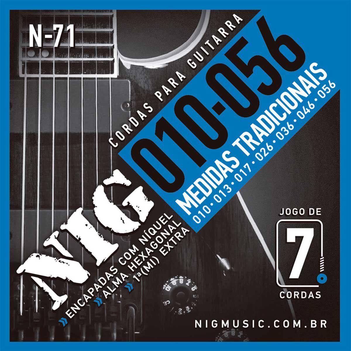 Encordoamento Nig N-71 010/056 para Guitarra Elétrica 7C