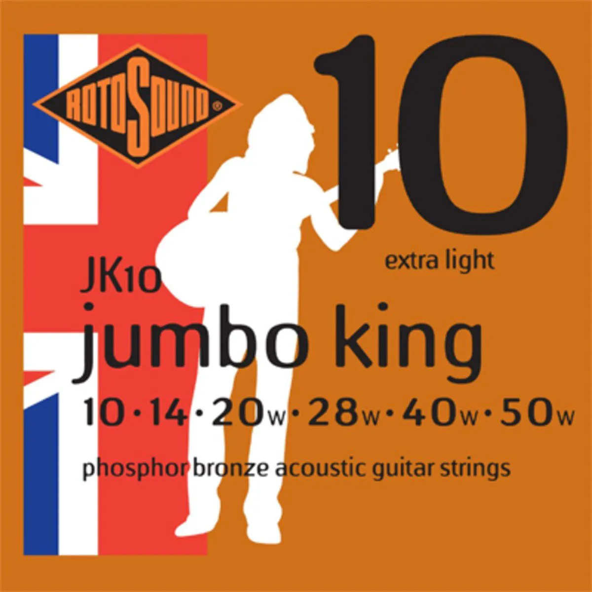 Encordoamento Rotosound JK10 Jumbo King 010/050 para Violão
