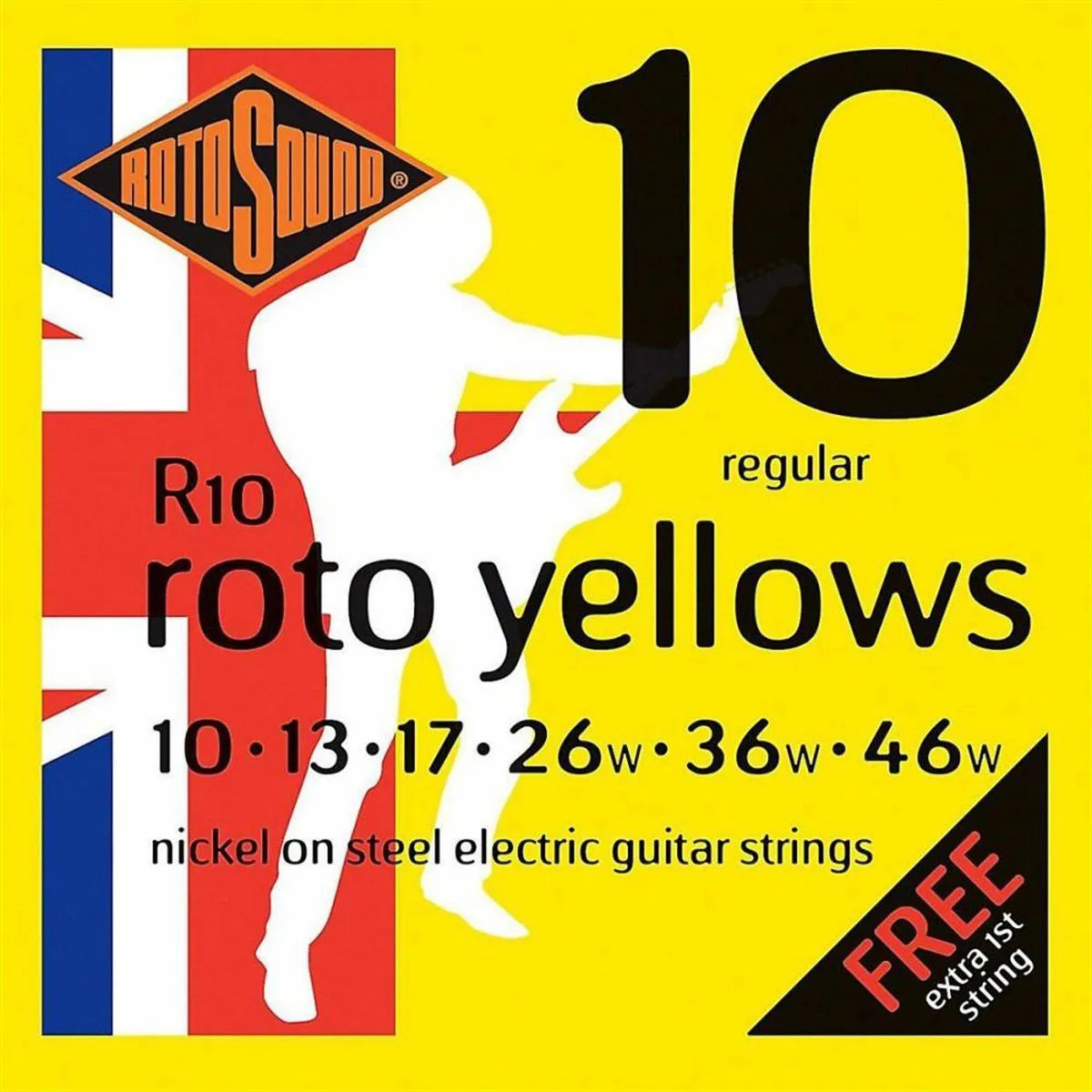 Encordoamento Rotosound R10 Yellow 010/046 para Guitarra