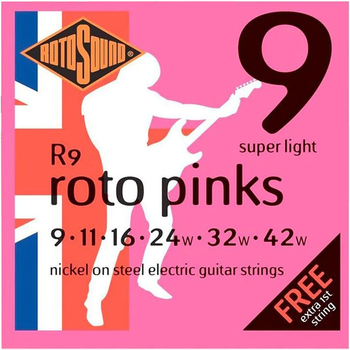Encordoamento Rotosound R9 Pink 009/042 para Guitarra