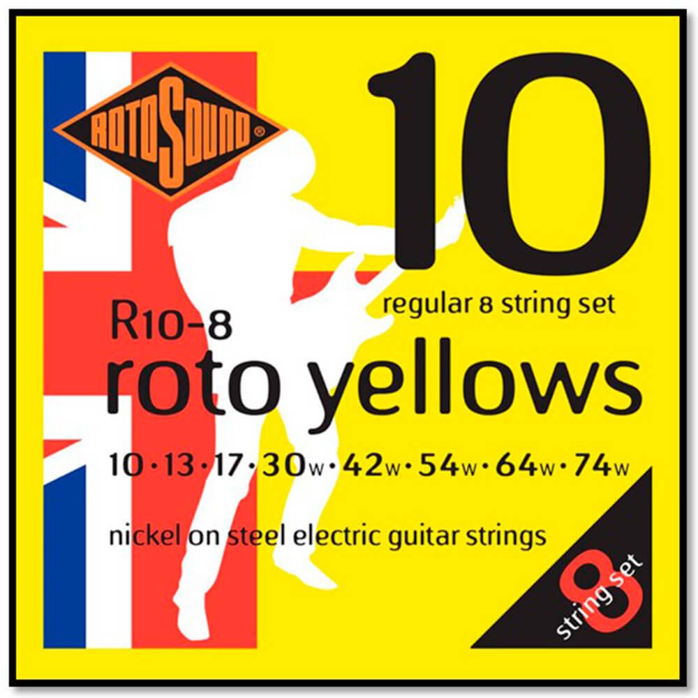 Encordoamento Rotosound R10-8 Yellow 010/074 para Guitarra