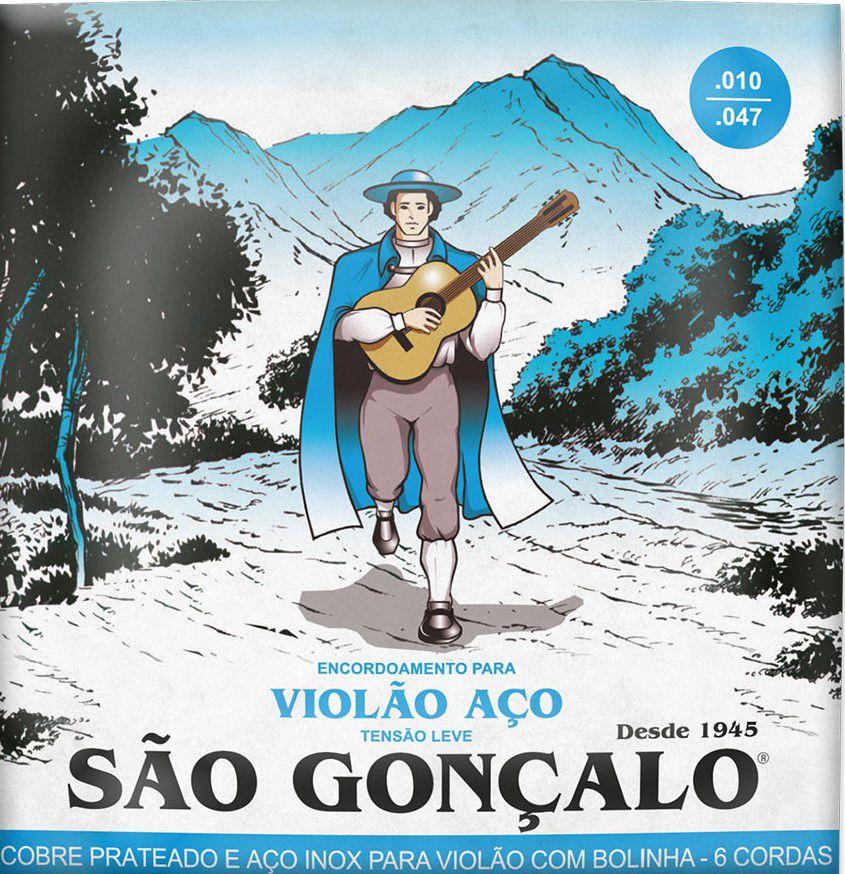 Encordoamento São Gonçalo .010/.047 Aço Leve Para Violão