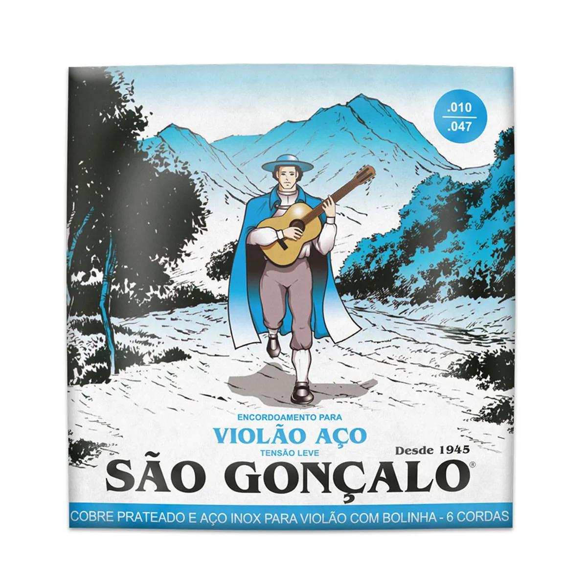 Encordoamento São Gonçalo .010/.047 Leve para Violão Aço