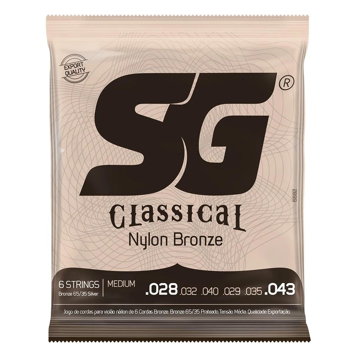Encordoamento SG Strings 65/35 Tensão Média P/ Violão Nylon