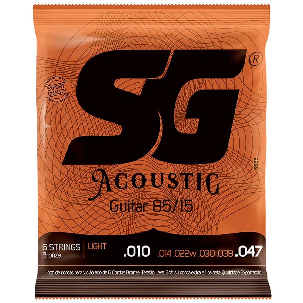 Encordoamento SG Strings Bronze 85/15 010/.047 P/ Violão Aço