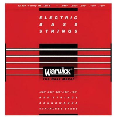 Encordoamento Warwick 42300 Red Strings 5C .040/.130 para Contra Baixo