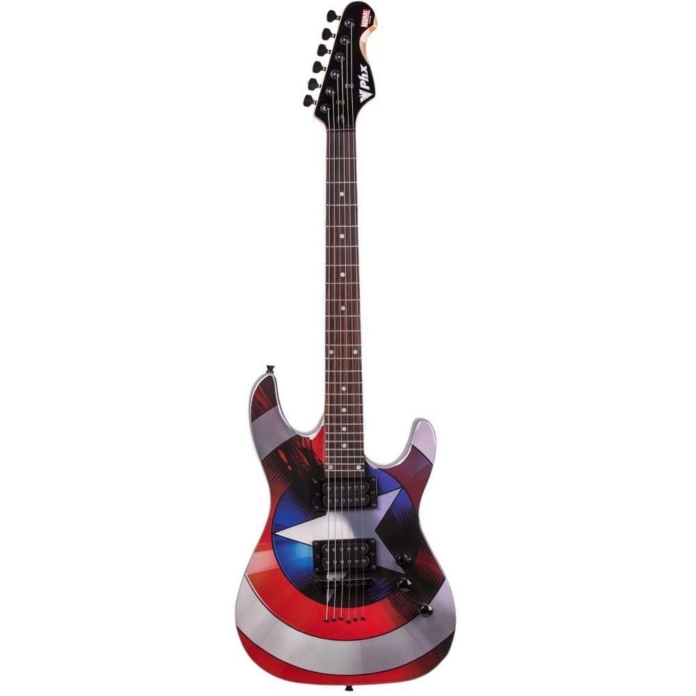 Guitarra PHX GMC-1 Marvel Série Capitão América com Capa