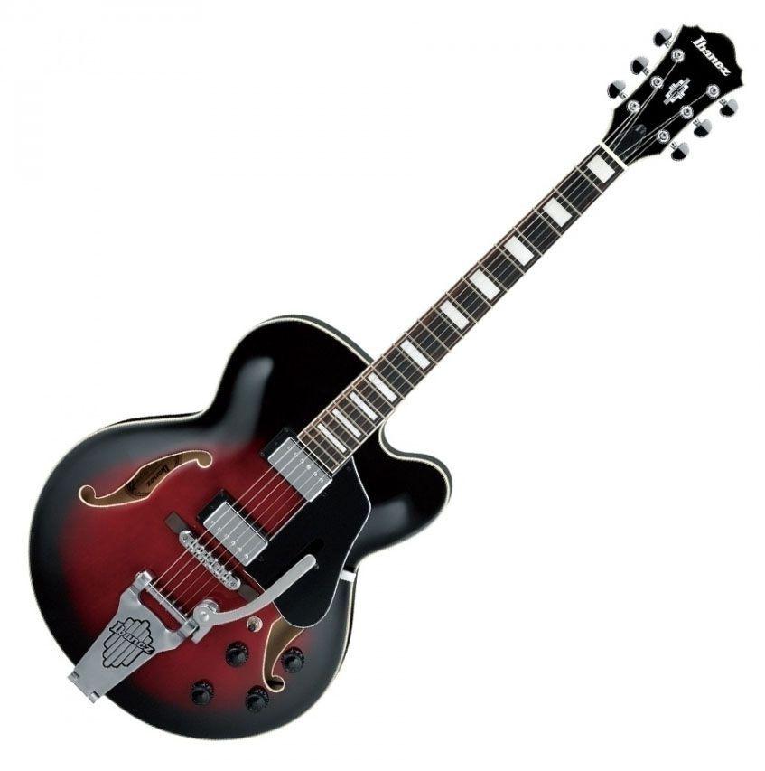 Guitarra Semi-Acústica Ibanez AFS75 Transparent Red Sunburst com Bigsby