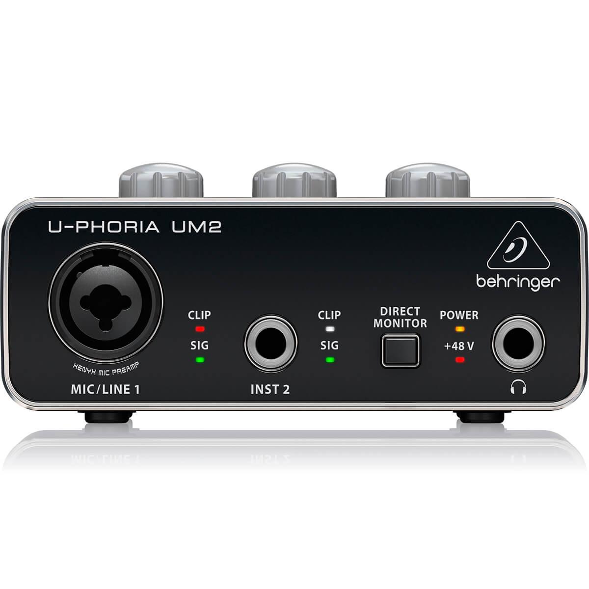 Interface de Áudio Behringer U-Phoria UM2 Midas USB