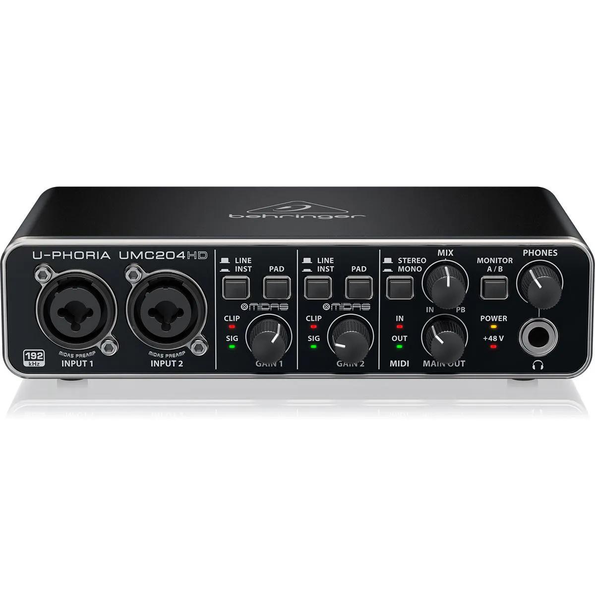 Interface de Áudio Behringer U-Phoria UMC204HD Midas USB