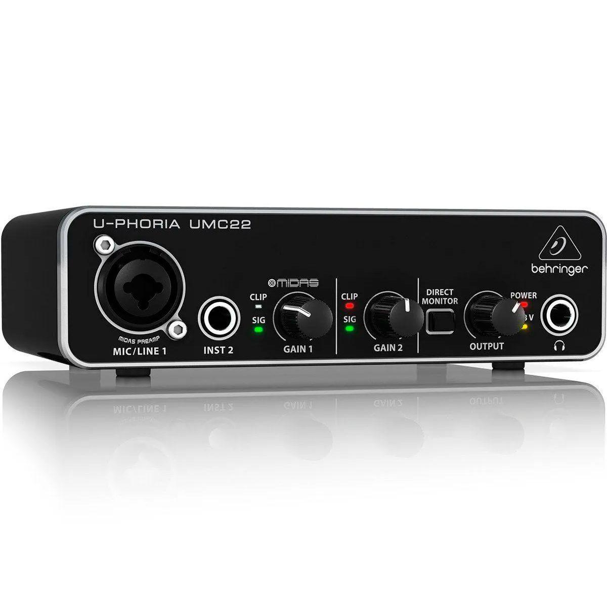 Interface de Áudio Behringer U-Phoria UMC22 Midas USB