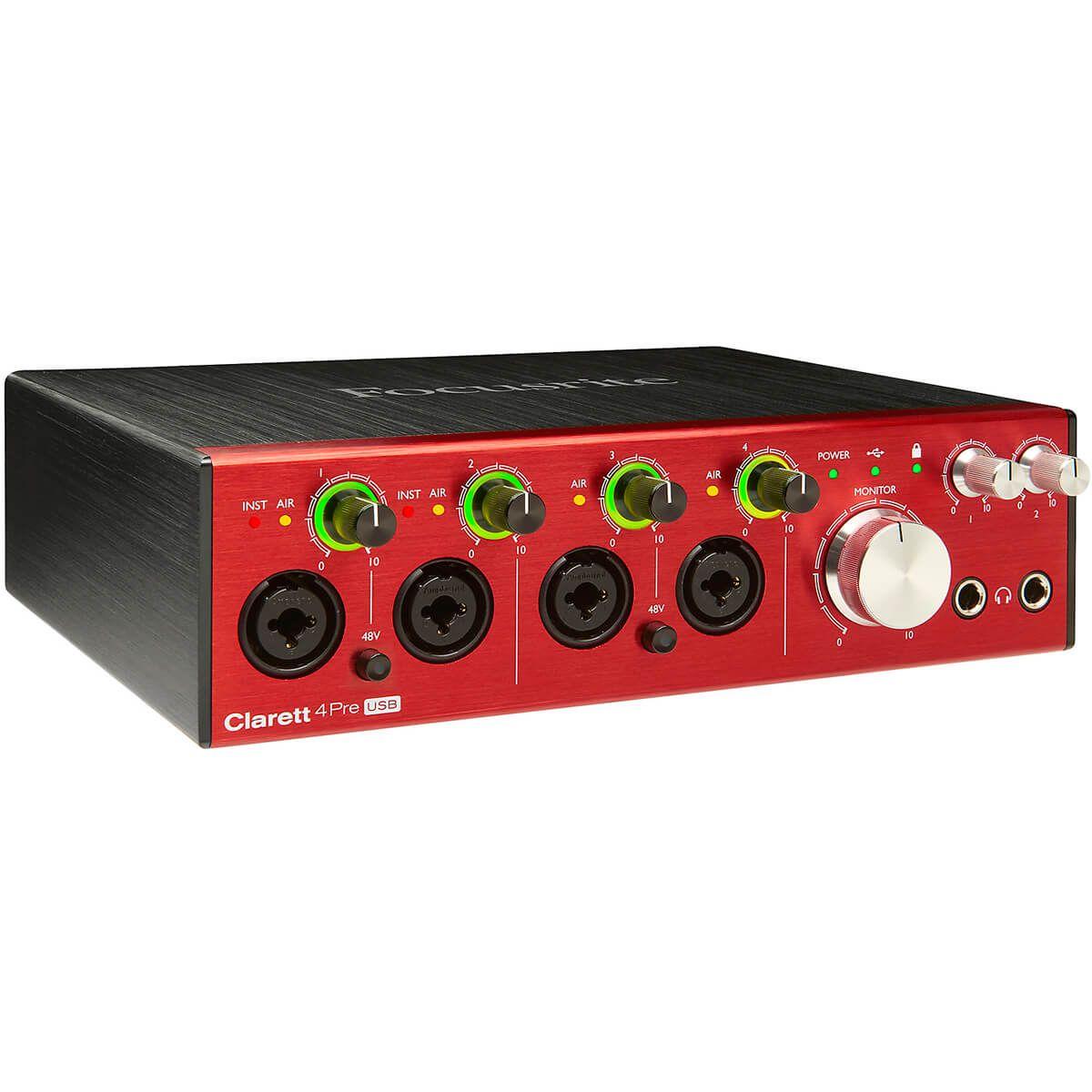 Interface de Áudio Focusrite Clarett 4Pre USB-C