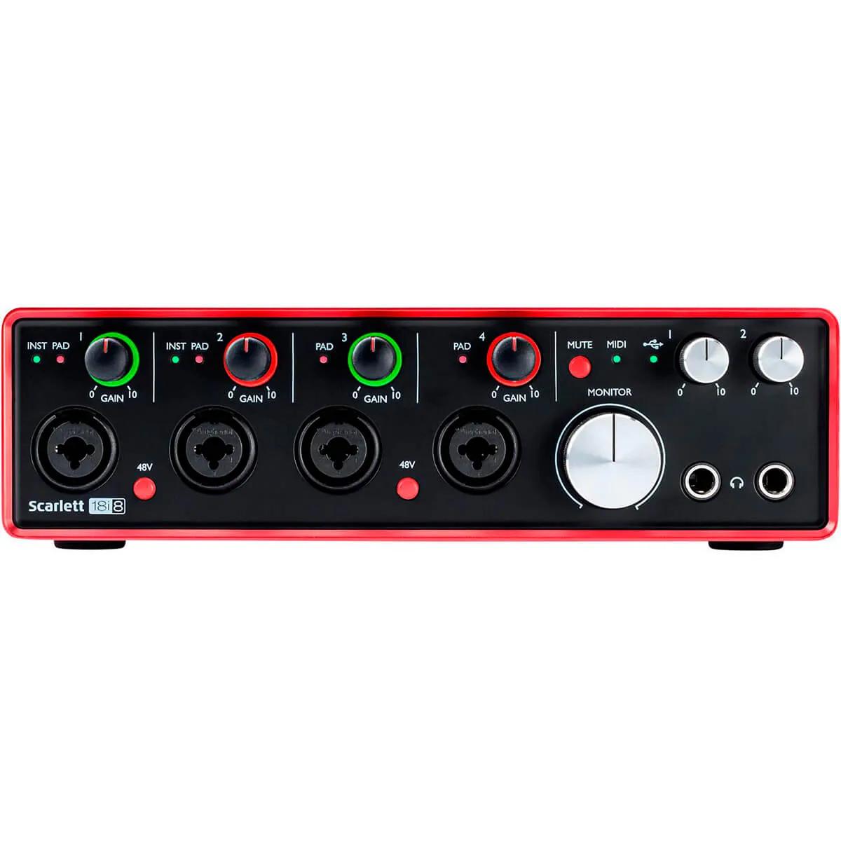 Interface de Áudio Focusrite Scarlett 18i8 USB 2nd Geração