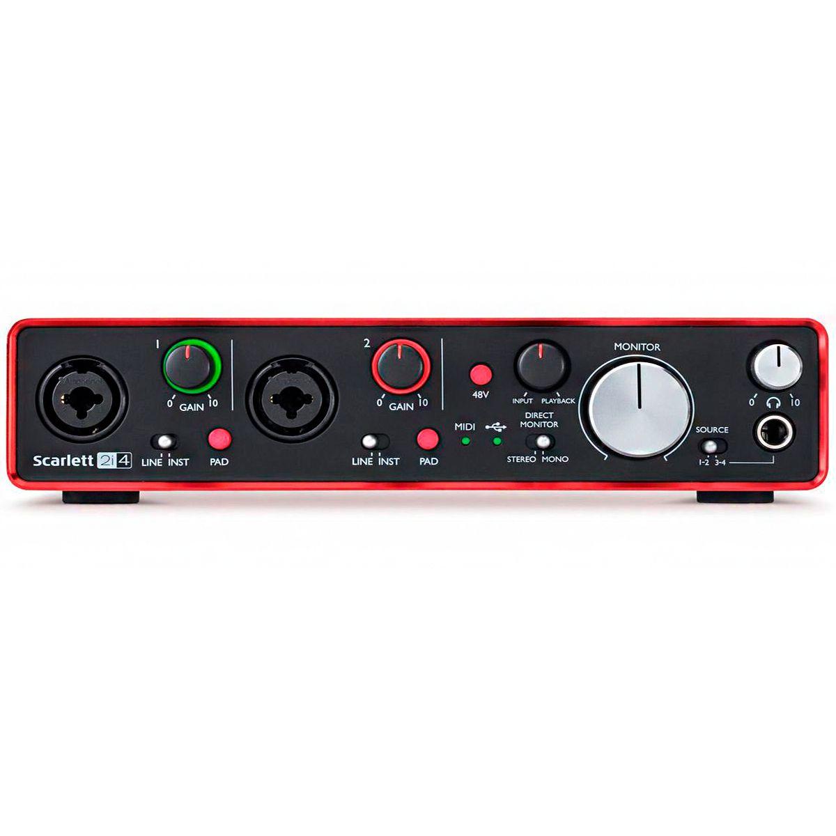 Interface de Áudio Focusrite Scarlett 2i4 USB 2nd Geração