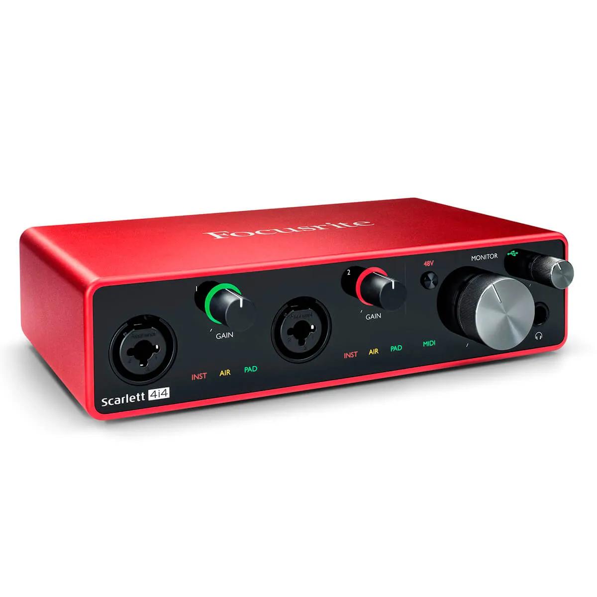 Interface de Áudio Focusrite Scarlett 4I4 USB 3rd Geração