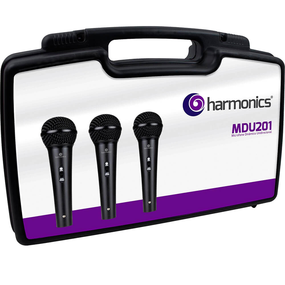 Kit c/ 3 Microfones Dinâmicos Harmonics MDU201