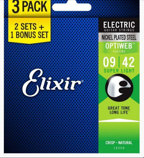 Kit Com 3 Encordoamento Elixir 0.09/0.42 Optiweb P/ Guitarra