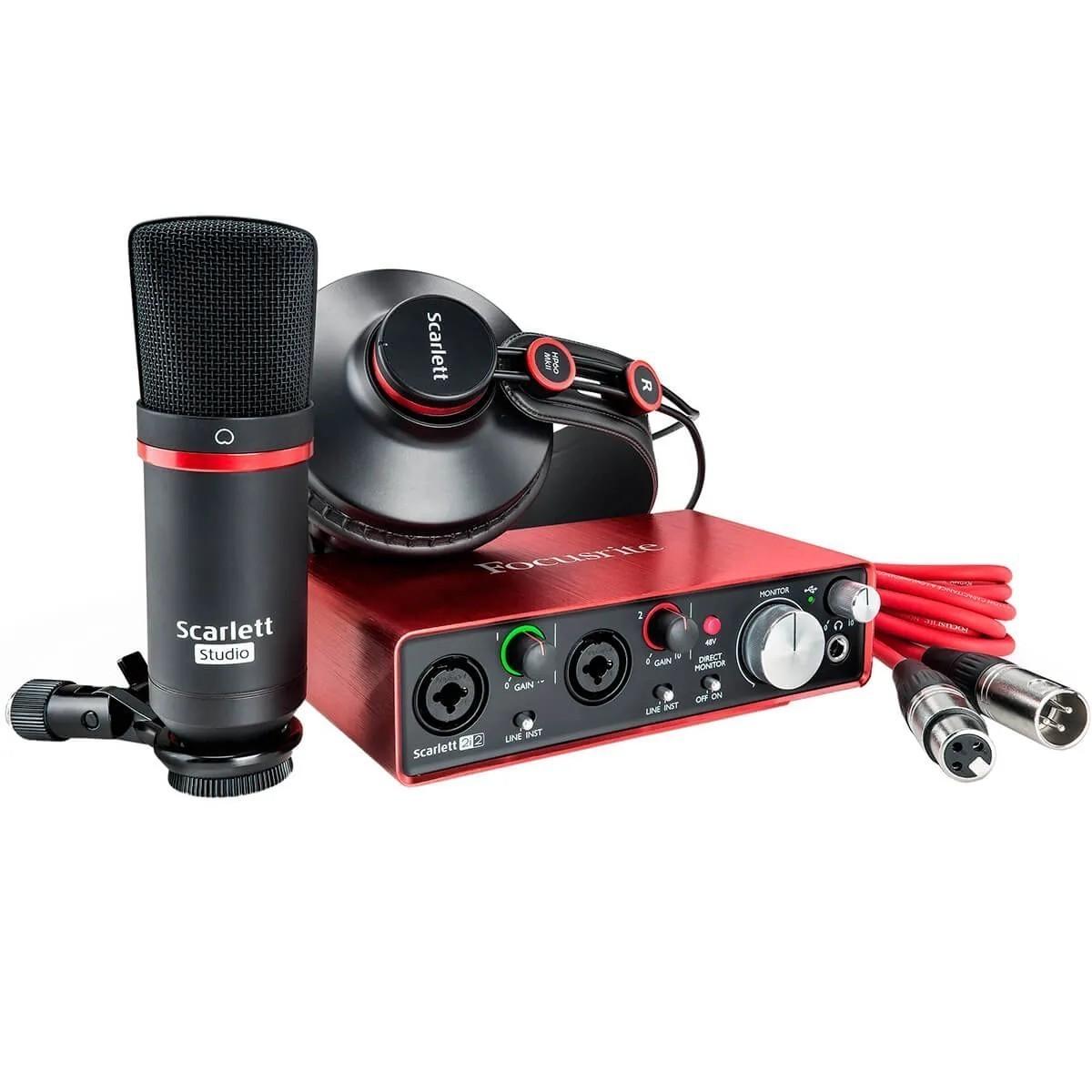 Kit Interface de Áudio Focusrite Scarlett 2I2 3rd Geração