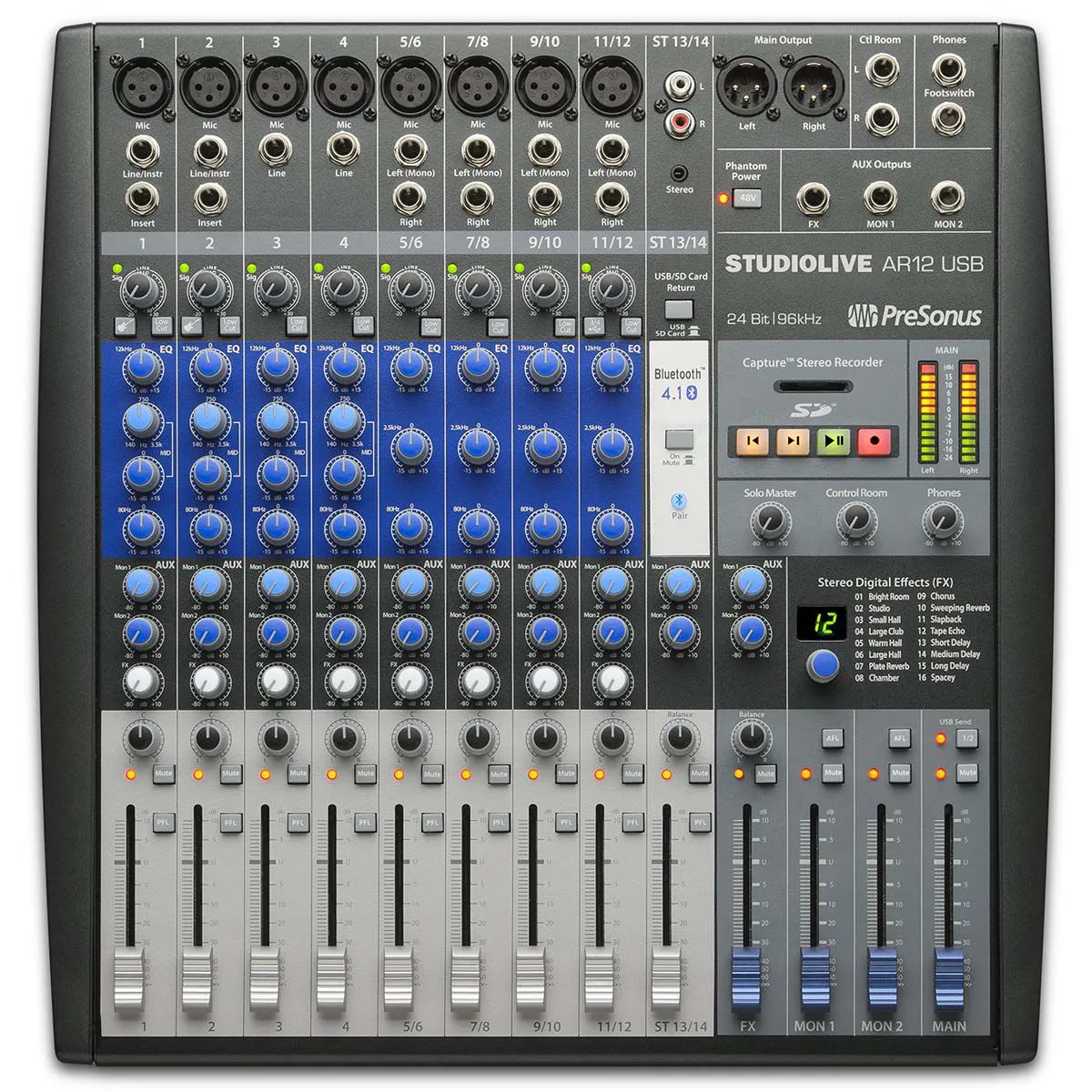 Mesa Analógica e Interface Presonus Studiolive Ar12 USB