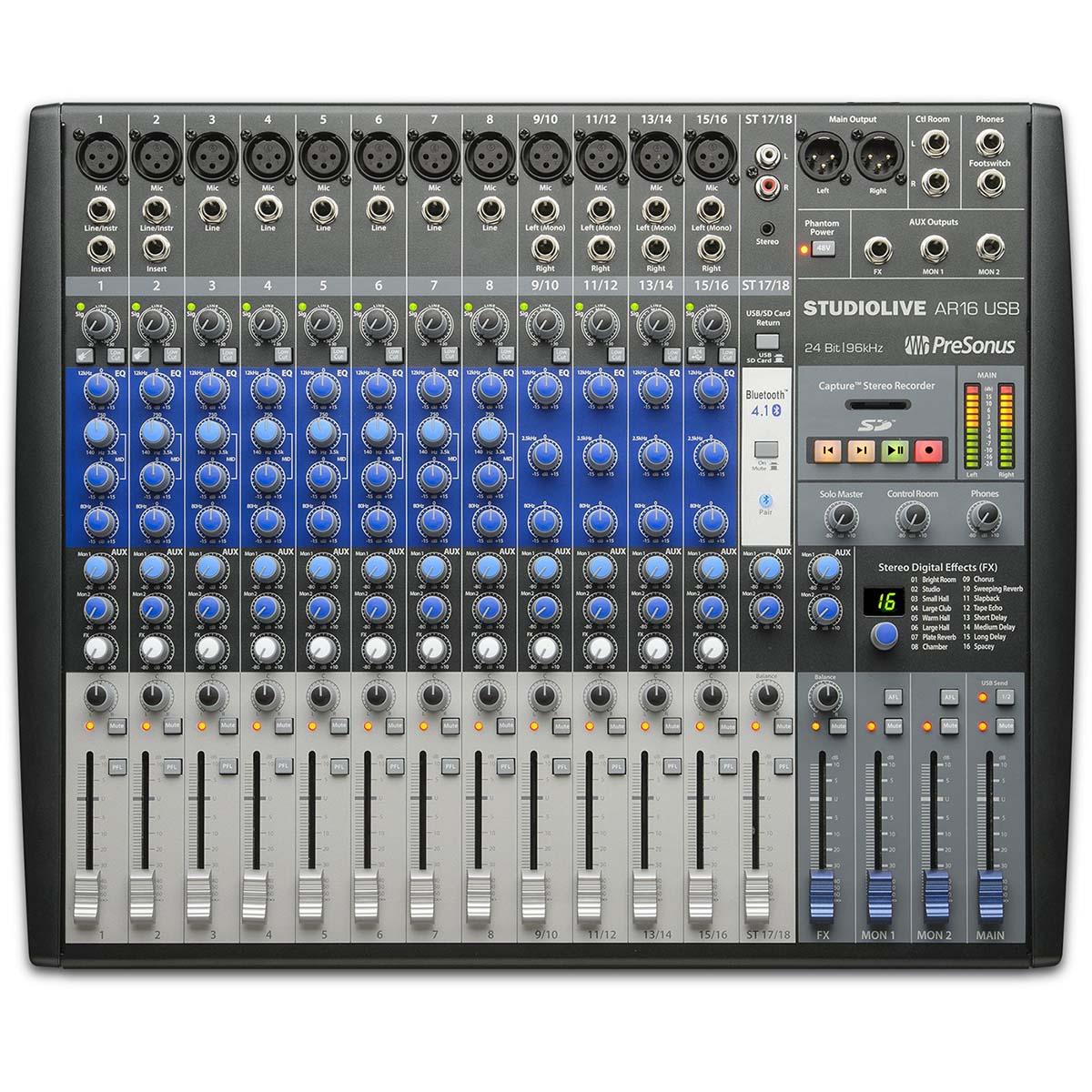 Mesa Analógica e Interface Presonus Studiolive Ar16 USB