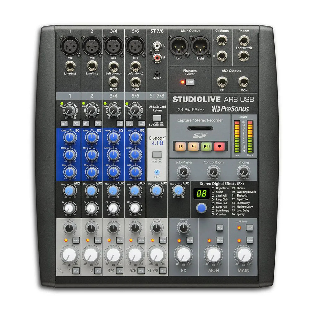 Mesa Analógica e Interface Presonus Studiolive Ar8 USB