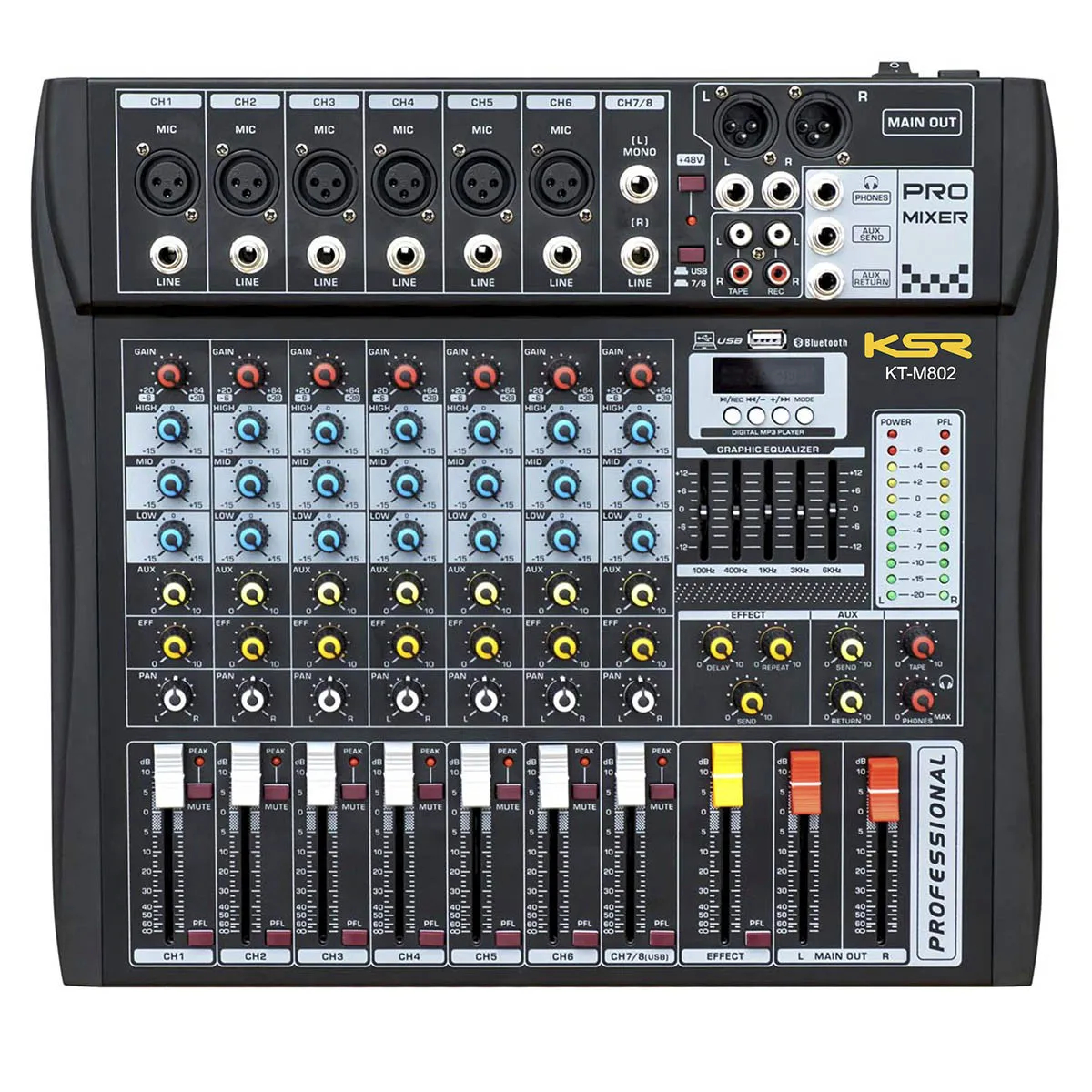 Mesa Analógica KSR Pro KT-M802 8 Canais USB