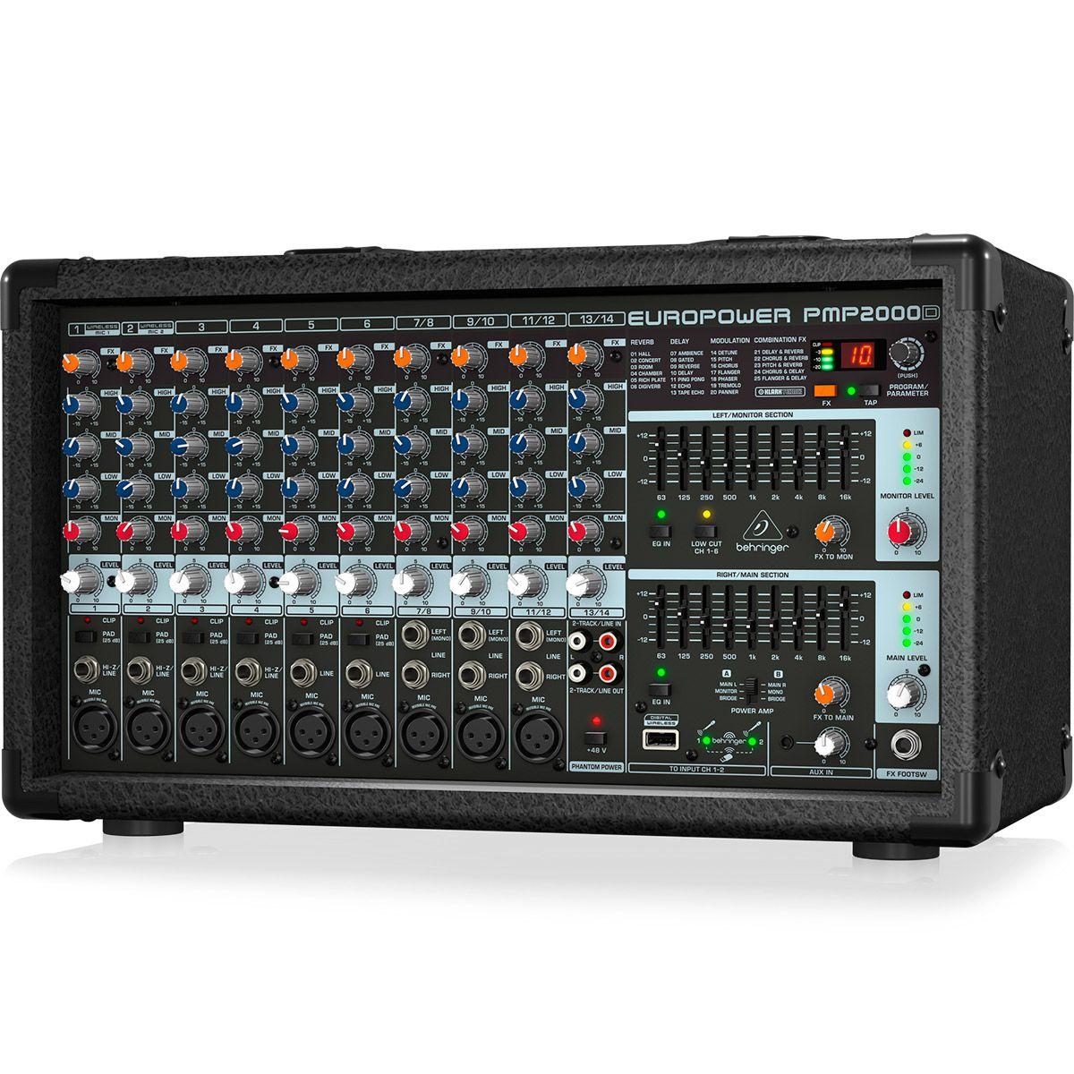 Mesa de Som Amplificada Behringer Europower PMP2000D 2000W 14 canais