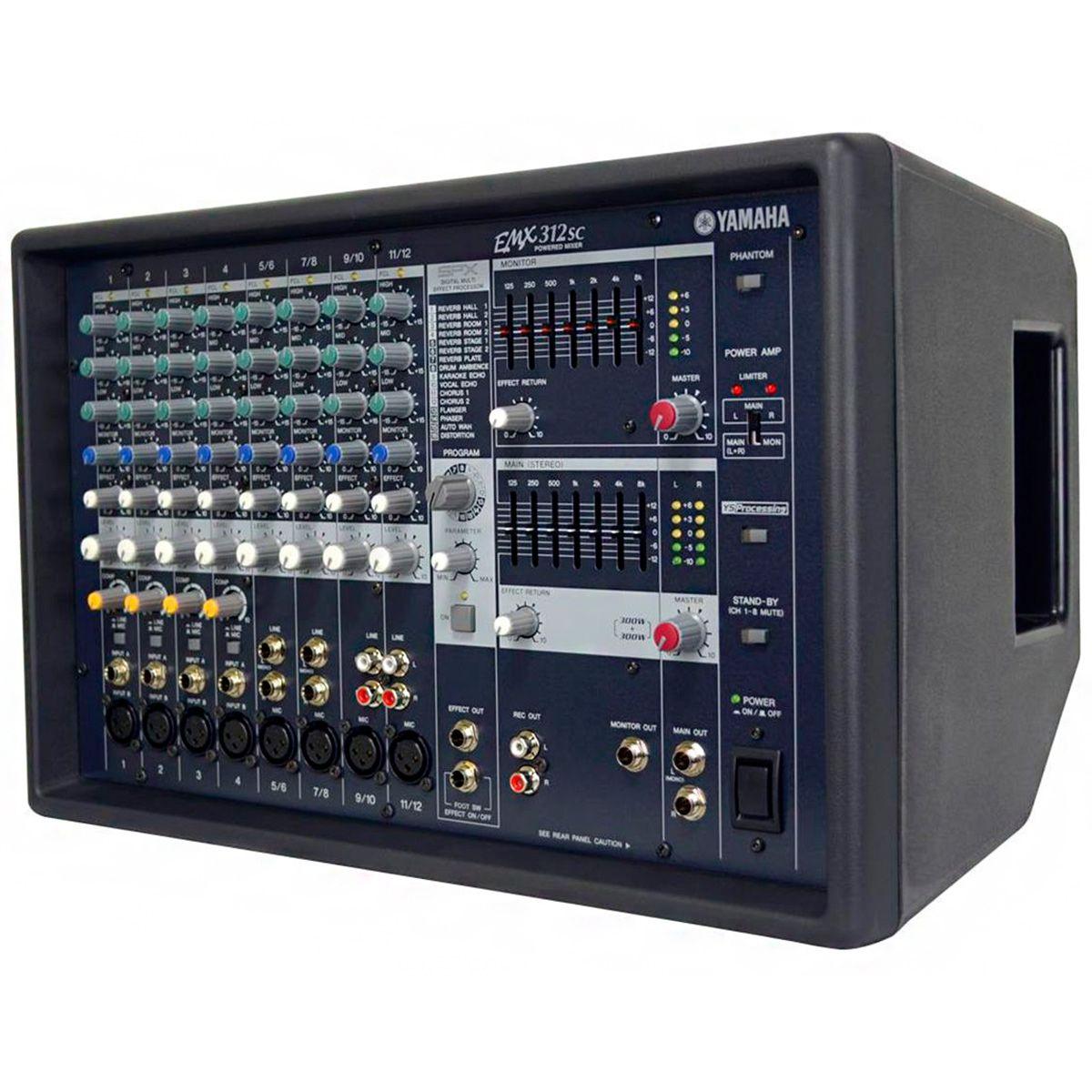 Mesa de Som Amplificada Yamaha EMX312SC 600W 12 Canais