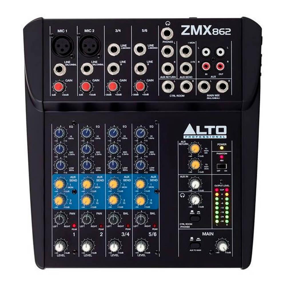 Mesa de Som Analógica Alto ZMX862 6 Canais