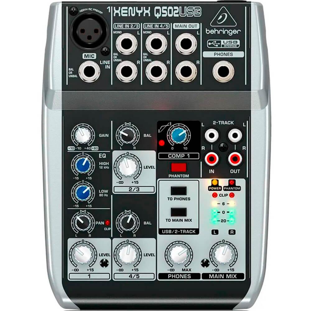 Mesa de Som Analógica Behringer Xenyx Q502USB S/ Efeito 110V