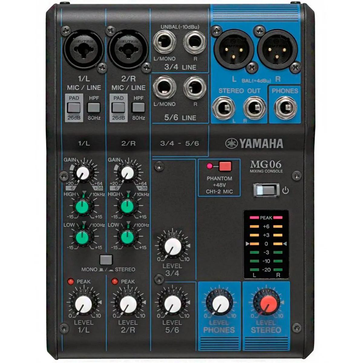 Mesa de Som Analógica Yamaha MG06 6 Canais