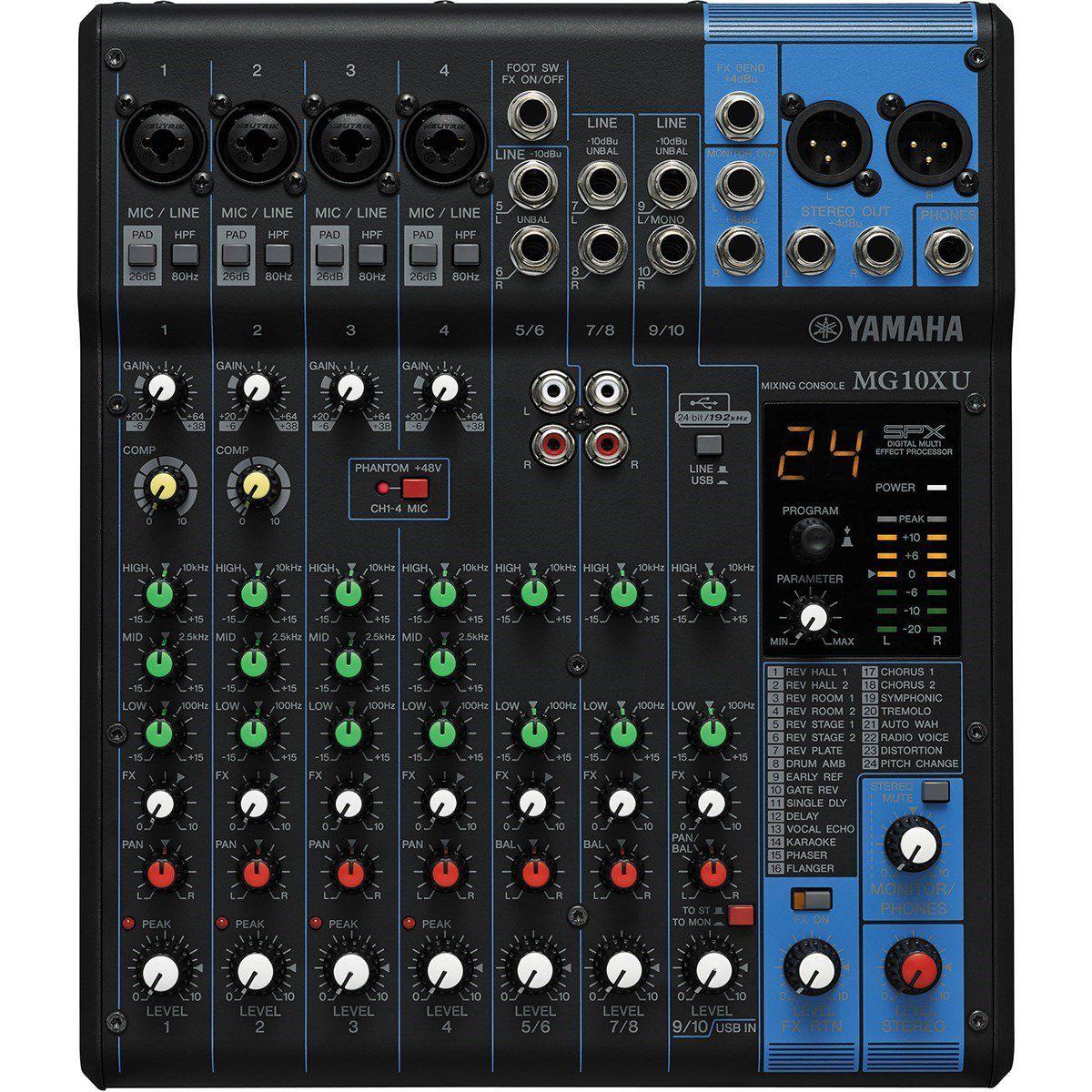 Mesa de Som Analógica Yamaha MG10XU USB 10 Canais