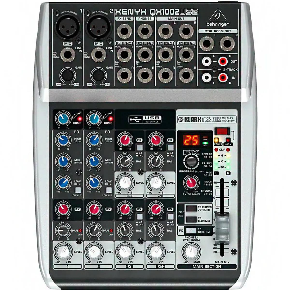 Mesa de Som Behringer Xenyx QX1002 USB 10 Canais