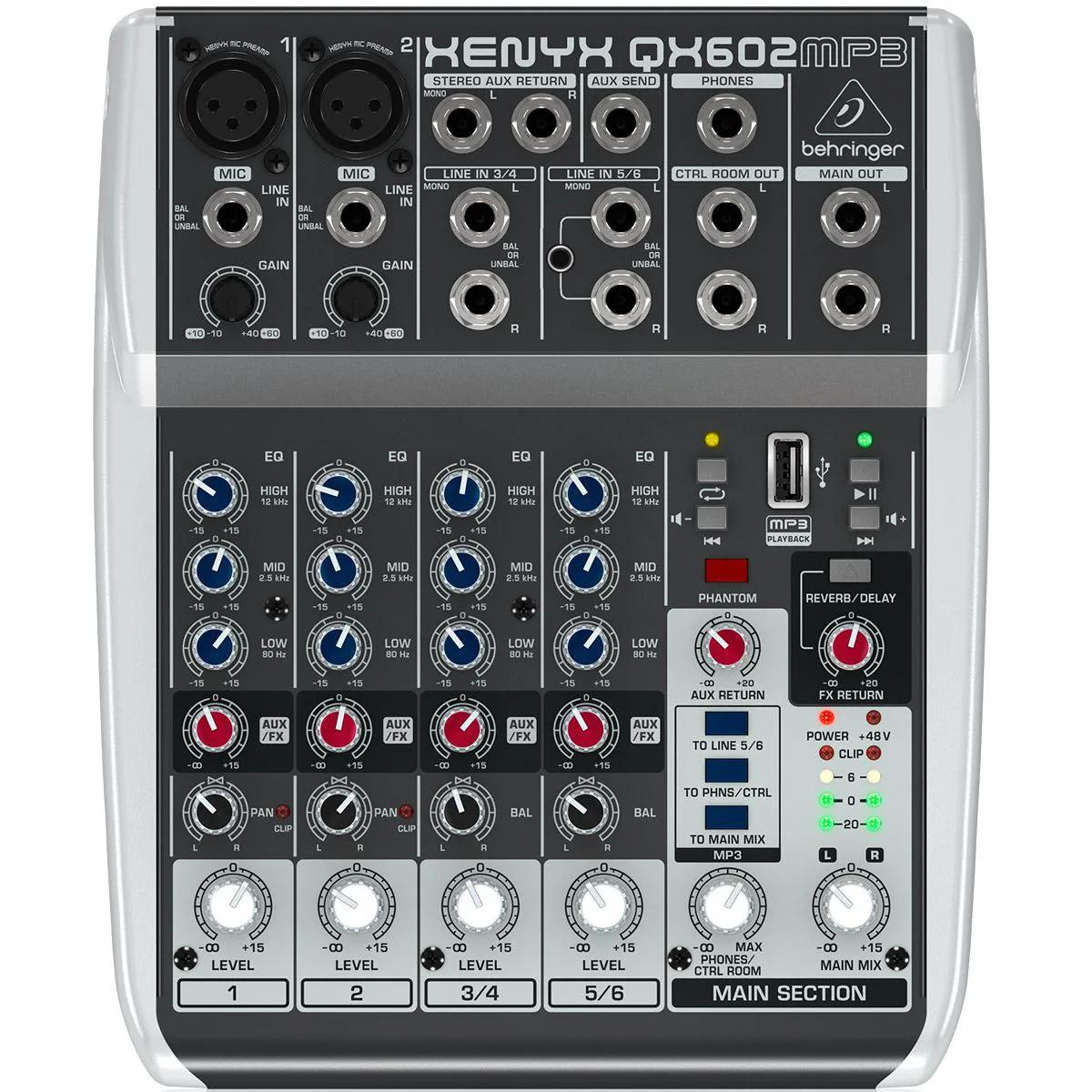 Mesa de Som Behringer Xenyx QX602 EFX MP3 6 Canais