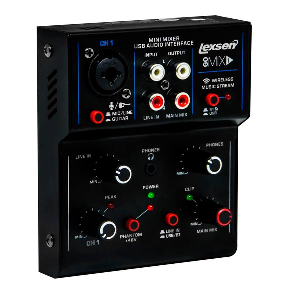 Mesa de Som Lexsen Go mix1 com Bluetooth e Interface USB