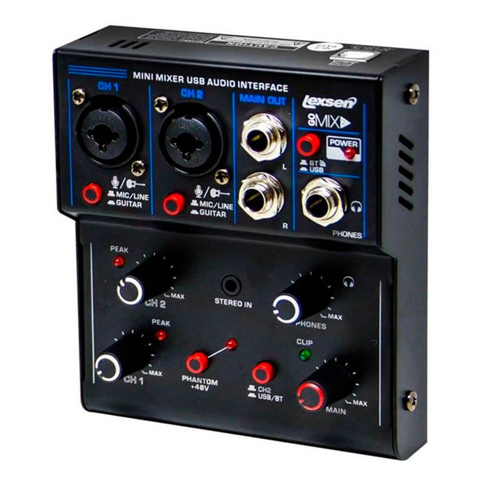 Mesa de Som Lexsen Go mix2 com Bluetooth e Interface USB