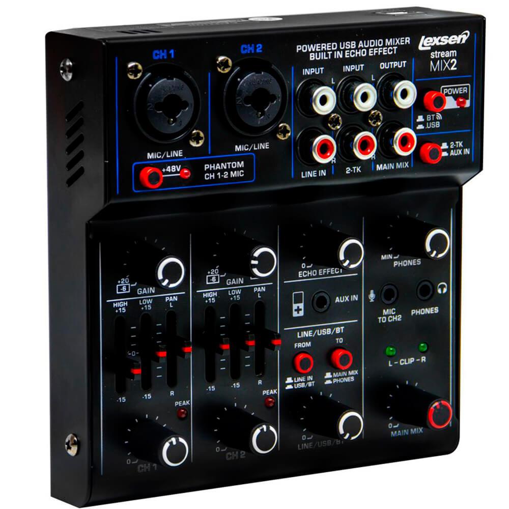Mesa de Som Lexsen Stream Mix2 Bluetooth e Interface USB