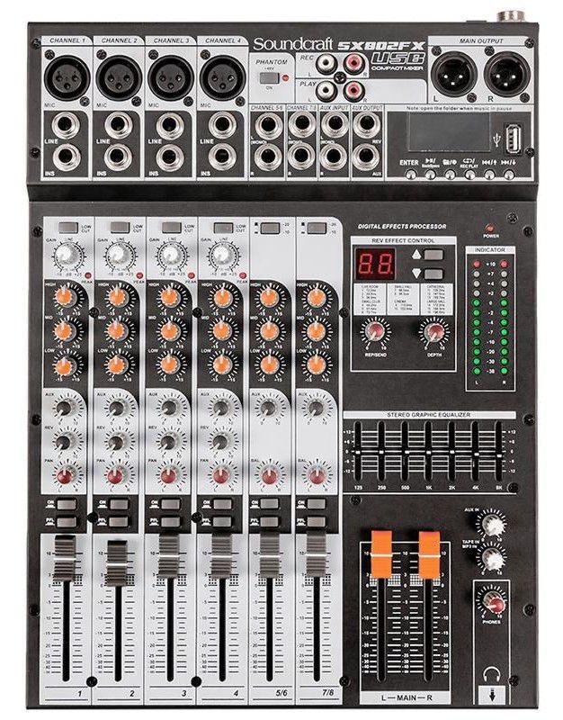 Mesa de Som Soundcraft SX802FX USB 8 Canais