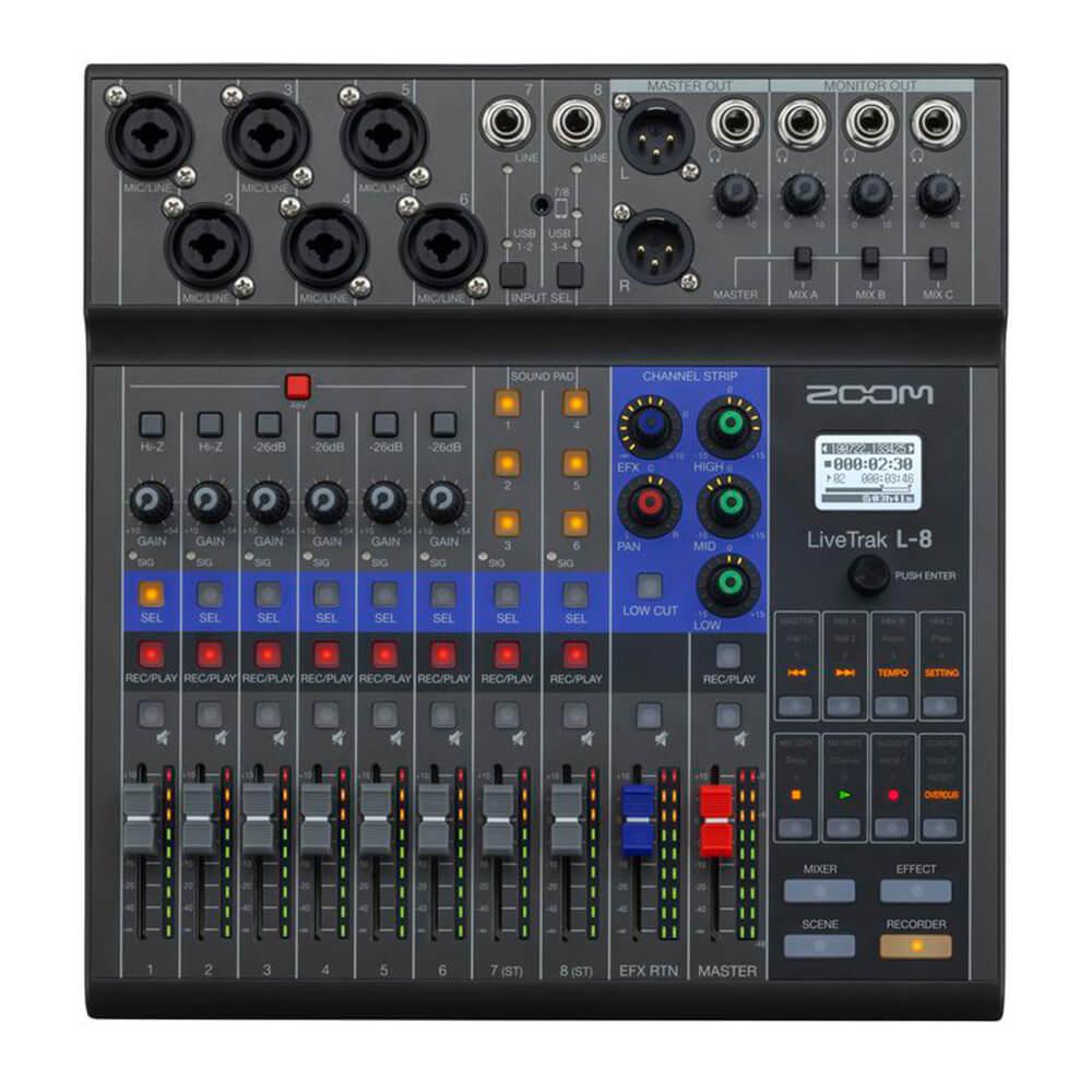 Mesa Digital Zoom L8 Mixer LiveTrak USB 8 Canais
