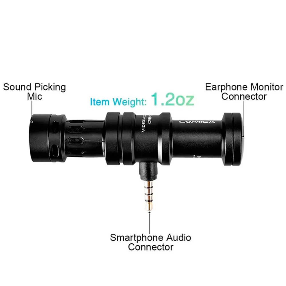 Microfone Compacto Comica CVM VS08 para Smartphone e Tablet